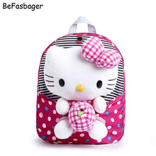Classic Dot Girls Hello Kitty Backpacks Kids Bag Gift for Children Plush Cartoon Kid Character Backpacks with Detachable Toy