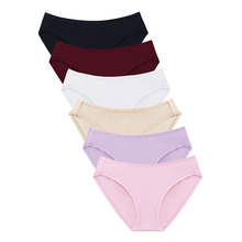 Buy Wealurre 6Pcs Underwear Women Sexy Panties Cotton Spandex Panties Middle Waist Solid Briefs Breathable Female Bikini Underpants