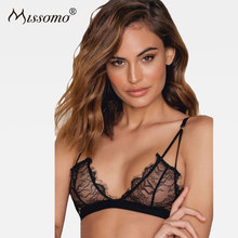 Buy Missomo Women Solid Black Sexy Lace Bras Push Seamless Adjustable Straps Bralettes Mesh Underwear Transparent Lingerie