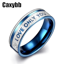 "Gaxybb Fashion Jewelry 316L Stainless Steel Simple Circle ""I Love Only You"" Couple Rings Wedding Ring for women ring Men 's ring(China)"