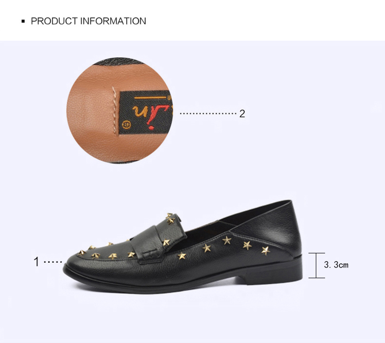 Donna-in Brand Flats Shoes Women Genuine Leather Loafers Slip on Mules low Heels Round Toe Casual Pentagram Ladies Shoes Autumn (5)