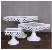 3 Size European Style Wedding Table Square Cake Stand Iron Tall Cake Fruit Tray Lace Single Cupcake Stand