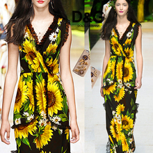 Heavy * * Na Ka sunflower flower painting heavy silk fabric 30 cotton broadcloth heavy fashion show 2017.8.21