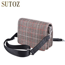 England Style Red/Grey Plaid Crossbody Bag for Girls Small Pouch Bags Messenger Purse Women Shoulder Square Flap Satchel BA398(China)