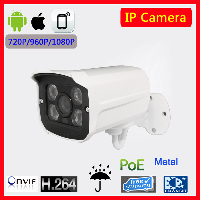 Metal Waterproof Outdoor Bullet IP Camera 720P 960P 1080P Security Camera CCTV 4PCS ARRAY LED Board ONVIF Camera with POE<br>