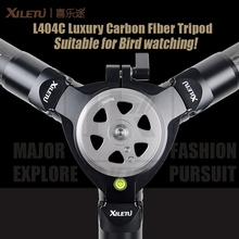 XILETU L404C Luxury Carbon Fiber Tripod Bird watching Without mid-axle 40mm large tube Hollow flange design 30kg load capacity