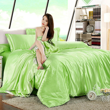 Fruit green silk bedding set home textile bed linen set clothing of bed bedcloth soft silky bedding full queen king size
