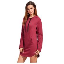 Women's New Spring Autumn Long Hoodie Sweatshirt Mini Dress Long Sleeve Pockets Casual Slim Hooded Sweatshirts Pullover Warm C(China)