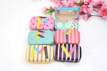 LIUSVENTINA cute letter companion box leather box 6 types contact lens case lenses container