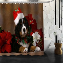 Custom dog Christmas Shower Curtain bathroom Accessories Polyester Fabric Curtain With holes