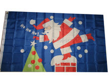 free shipping 3x5 Merry Christmas Santa Claus Chimney SuperPoly Flag 3'x5' House Banner(China)