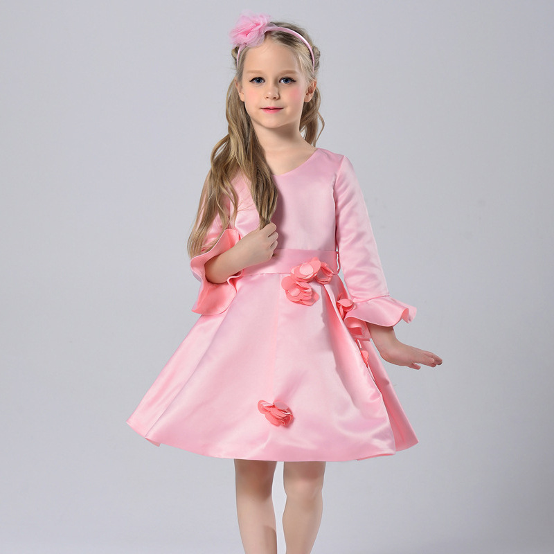 European American Style Toddler Girls Pink Elegant Lovely A-line Flowers Decor Satin Lovely princess celebrity Formal Dress<br><br>Aliexpress