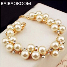 Fashion New Brand Design Luxurious Gold-color Charm Crystal Cubic Zircon simulated Pearl Beads Bracelet For Women 2107
