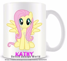 Personalized Fluttershy funny novelty travel mug Ceramic white coffee tea milk cup Custom Birthday Easter gifts free shipping(China)