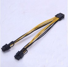5pcs/lot CPU 8pin Female to dual PCI-E PCI Express 8p ( 6+2 pin ) Male power cable 18AWG wire for graphics card BTC Miner 20cm
