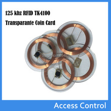 125 khz RFID EM4100 TK4100 Transparante Coin Card (25mm) Id-kaart cards for Access Control Tags(China)