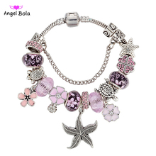 Crystalized Starfish Charm Bracelet for Women with Daisy Beads Bracelets & Bangles DIY Jewelry Gift P-014 Free Shipping