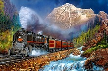 Snow mountain diy diamond painting cross-stitch kit full diamond embroidery scenery train pattern mosaic 5D diamond needlework