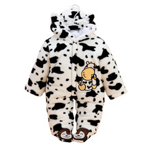 BibiCola 2017 Spring winter Newborn Baby Clothes Baby Boys Girls Rompers Infant Pajamas Cartoon Cows Soft Romper(China)