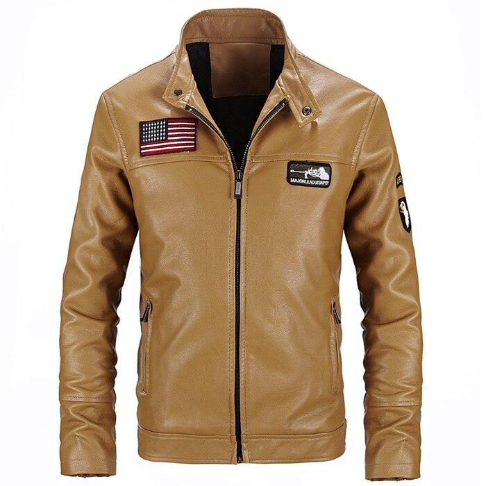 Faux Sheepskin Leather Jackets Men US Flag Embroidery Winter Warm Yellow Jacket Basic Faux Fur Coats Motorcycle Leather Jackets