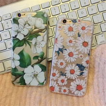 Phone Case For iPhone 7 6 6s 5 5s SE 6Plus 6s 7 Plus Cover Camellia Cactus Daisy Plants Soft TPU Silicon Casing Housing Coque