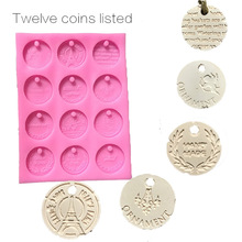 12 coins listed aroma wax tablets silicone mould Hand-made crafts aromatherapy ornaments 12 holes silicone mold car decoration