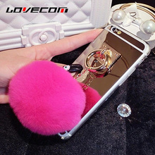 LOVECOM For iPhone 6 6S 7 Plus For Samsung S8 Plus S4 S5 S6 S7 Edge Note 5 Mirror Rabbit Fur Ball Pendant Soft TPU Phone Case