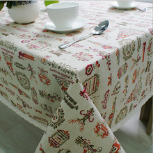 Hot Sale European Christmas Theme Table Cloth Rectangular Linen Tablecloth Home Party Dinning Xmas Decoration