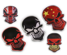2017 3D Aluminum Germany France USA China National Italy ENGLAND Flag skull Emblem Badge Decal Truck For Auto Motor Car Sticker(China)