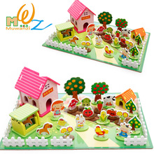 MWZ  Wooden 3D Puzzle Building Happy Farm Zoo Blocks Education and Learning Toy for Children Kids