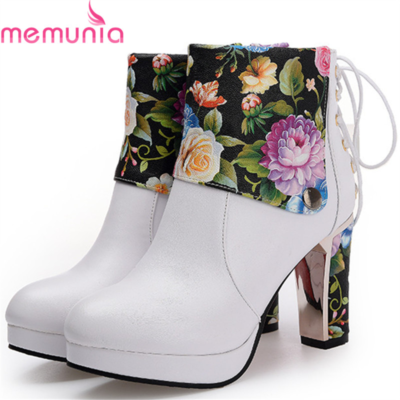 MEMUNIA Platform boots fashion pastoral ankle boots for women zip PU printed leather women boots autumn large size 34-43<br>