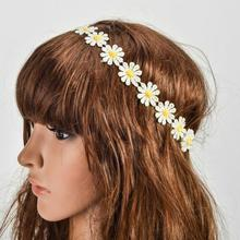 Fashion Women Sunshine Flower Boho Elastic Hairband Headband Festival Wedding Seaside Spring Summer Beautiful(China)
