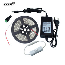 SXZM 5 Meter IP65 waterproof 5050 led flexible tape+12V3A EU/US power supply +Switch on/off 300 leds outdoor garden  lighting