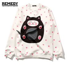 2017 Women Autumn Black Animal Anime Cat Hoodie Heart Cute Cartoon Sweatshirts Japanese Harajuku Sweatshirt Kawaii Clothes White