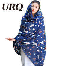 2016 New Scarves & Wraps Woman Animal Scarf Bird Print Long Viscose Warm Winter Soft Shawl with Tassel  V9A18576