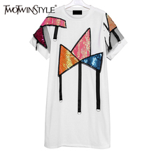 TWOTWINSTYLE 2017 Summer Women Sequined Geometric T Shirts Dresses Tulle Short Sleeve Casual Clothes Korean Fashion Big Sizes