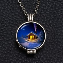 Perfume Aroma Pendant Necklace With Foam 25mm Glass Charms Snow House Pattern For Man Women & Girl DZ1755