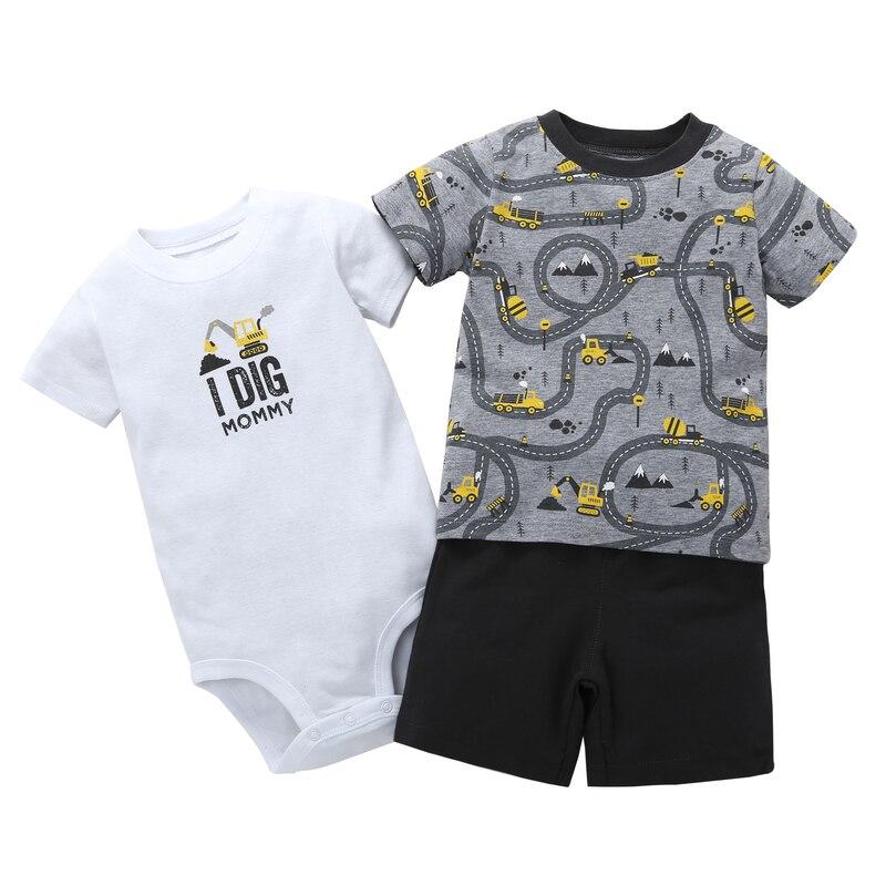 0-24m newborn baby boy clothing set cotton short T-shirt + shorts+romper 3 pcs Set baby clothes 2018 summer suit