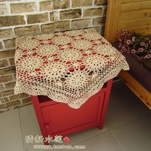 Free shipping hook needle flower table cloth 100% cotton fashion sofa cloth bedside cabinet gremial square-fashion beige