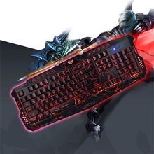 M - 200 Bilingual Russian / English 3 Colors Backlight Wired Gaming Keyboard Fire Cracks USB Powered For Gamers