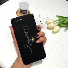 SZYHOME Phone Cases for IPhone 6 6s 7 8 Plus Black Art Youth Lovely Daisy Frosted Quality Plastic Phone Cover Case Capa Coque(China)
