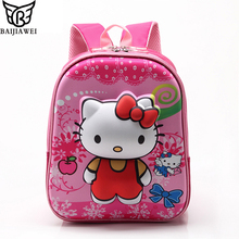 BAIJIAWEI 2017 Rose Red Hello Kitty Backpacks Plush Cartoon Toy Backpack Girl Character School Bag Kids Mochila Infantil Bag