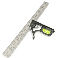"Precise Stainless Steel Measuring Tools Aluminium Combination Square Diy Workshop Hardware Angle Spirit Level 12"" (300mm)"