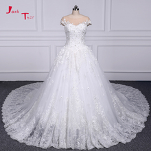 Buy Jark Tozr Customize Tulle Flowers Appliques Crystal Pearls Princess Ball Gown Wedding Dress 1.5m Chapel Train 2018 Mariage for $322.86 in AliExpress store