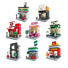 Mini Street Scene Convenience store fast food restaurants Coffee Sports Shop Nano Kids Building Block Educational Toys