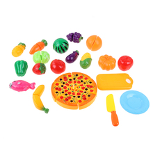 24pcs Simulation Foods Set Fruit Vegetable Pizza Kids Kitchen Pretend Play Toys For Children Cutting Cooking Food Game Gift(China)