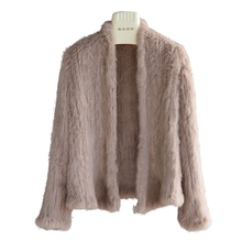 New Arrival Women Outerwear Fashion Real Rabbit Fur Knitted Coat Long Sleeve Warm Waist Coat Genuine Fur Coat Brand CT294