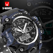 Buy SWAVES Dual Display Watch Brand Quartz Men Waches Sport Waterproof Army Digital Wristwatch Plastic Band Clock Relogio Masculino for $10.40 in AliExpress store