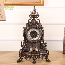 European and American high-end luxury decorative fireplace with French classic Baroque bell copper clock
