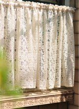 vintage style lace curtain beige color short kitchen curtain cafe curtain Finished curtain(China)